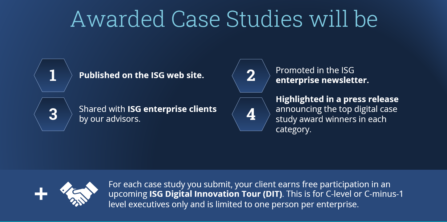 Awarded Case Studies will be featured on ISG